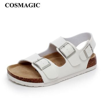 2017 New Summer Beach Cork Sandals Flat with Casual Women Black White Double Buckle Sa