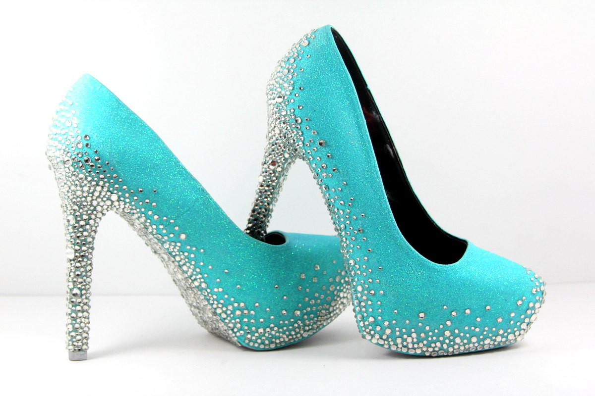 ff7cb2850 Tiffany Blue Heels with Swarovski Crystals (Multiple Color Choices).  $300.00 from Wicked Addiction