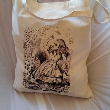 Alice in wonderland heatpress transfer tote bag. kitsch. pastel goth. ECO bag. Cotton canvas .