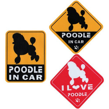 """I Love Poodle"" Dog in Car Bumper Stickers (3 Decal Pack)"