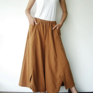 NO.41   Mustard Cotton Wide Leg Pants Unique Pockets Trousers