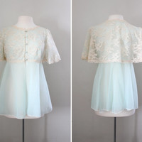 Vintage 1960's Angel Sleeve Bed Jacket - Baby Blue Empire Waist with Antique White Lace - Boudoir Lingerie - Size Small