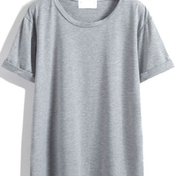 Solid Cuffed Sleeve Loose Grey T-shirt