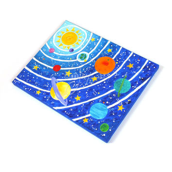 Art for Kids Room, Solar System No.9, 14x11 Acrylic Space Painting, Space Themed Nursery Decor