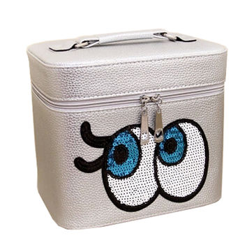 Big Eyes Cosmetic Box Travel Makeup Box Cosmetic Bag Wash Bag, Silvery