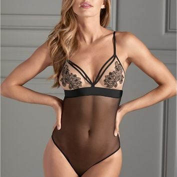 Black Embroidered Cup Bodysuit from VENUS