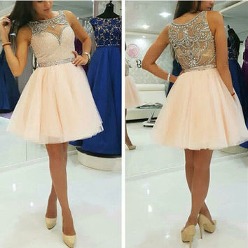 Peach Color  Bead work Short Prom Dress