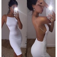 ShapeU Sexy backless deep v neck night club dress summer women bodycon party bandage sun dress vestidos