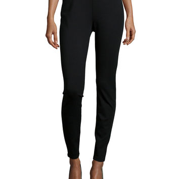 Stretch Ponte Leggings, Black, Petite, Size: