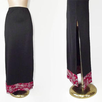 Vintage 90s Skirt | 1990s Maxi Skirt | Long Black Skirt | Red Cheongsam Satin Trim | Side Slit Skirt | 90s Style | Harajuku Fashion | Large