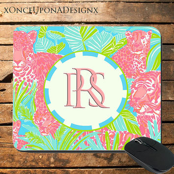 Lily Pulitzer Inspired Mouse Pad Lily Pulitzer Mousepad Tigers Custom Mouse Pad Colorful Mouse Pad Monogram Mouse Pad Monogrammed Mouse Pad