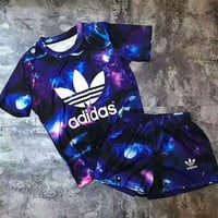 Adidas Women Starlight Milky Way Print Short sleeve Top Shorts Sweatpants Set Two-Piece Sportswear