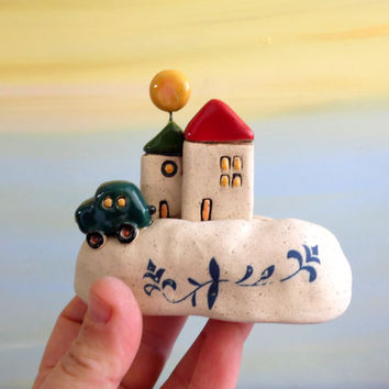 Miniature ceramic houses , white houses made of clay , little houses collectible item , Passover gift , romantic gift