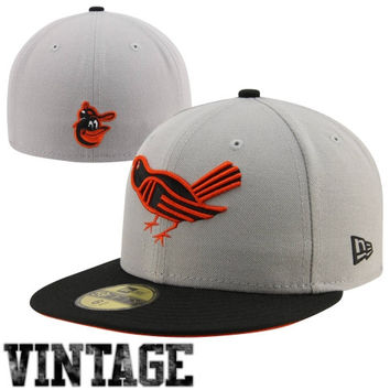 New Era Baltimore Orioles Cooperstown Collection 59FIFTY Fitted Hat - Gray/Black