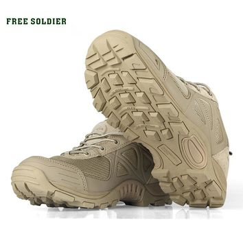 FREE SOLDIER Outdoor Tactical Sport Men's Shoes For Camping Climbing Men Hiking Boots Mountain Non-slip Ultra-light Shoes