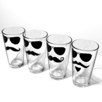 Incognito Mustache and Glasses Drinking Glass by MustacheGlass