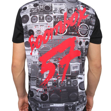 LE3NO Mens Boombox Graphic Design T Shirt with Printed Pocket