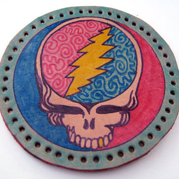 Leather patch, upcycled, Grateful Dead, steal your face, hand drawn and colored, coated with protective lacquer, sew on patch, hippie fun