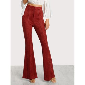 Flare Bottom Suede Pants Red