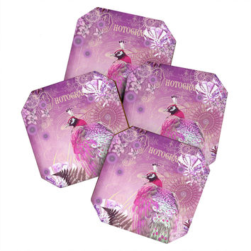 Monika Strigel Pink Peacock Coaster Set