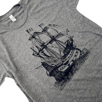 Mens Pirate Ship TShirt  Nautical Boat American by friendlyoak