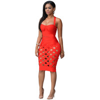 Hollow Out Womens Sexy Dresses Party Night Club Dress 2 Piece Bandage Dress