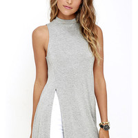 High Side Slit Sleeveless Long Shirt