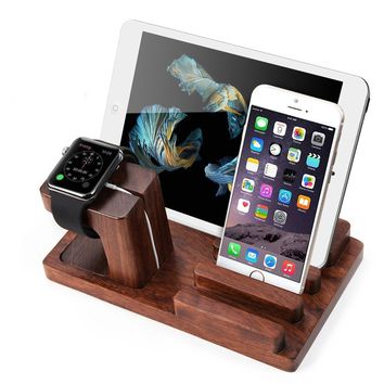 Apple Watch Bamboo Wood Charging Stand Bracket Docking Station Holder For iPhone