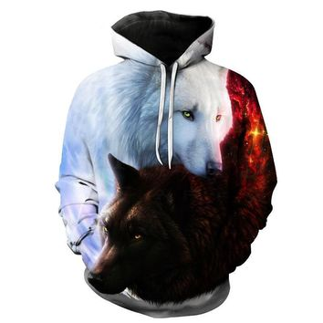 Yin & Yang Wolf - 3-D Graphic Printed Men's Hooded Sweatshirt - Track & Street Wear