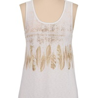 feather graphic print tank