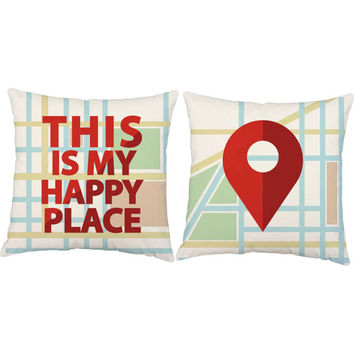 This is My Happy Place Pillows - Set of 2 Map Print Pillow Covers and or Cushions, Housewarming Gift, Decorative Throw Pillows, Moving Gift