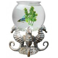 Tom Aquatics Betta Treasures Betta Bowl with Seahorse Stand - 1 Gallon Fish Bowls