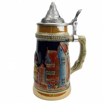 Vintage Beer Stein of German Village Street Scene .75L with Lid