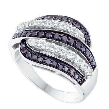 14kt White Gold Womens Round Black Colored Diamond Five Row Striped Band Ring 7/8 Cttw 51727