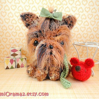 kawaii amigurumi puppy Dog fuzzy brown and red by gurumiorama2