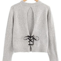 Back Bow Grey Sweater