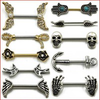 ac PEAPO2Q 1 Pair 316L Surgical Steel Barbell Piercing Skull Anchor Wing Hand Shield Ring Bar Body Jewelry