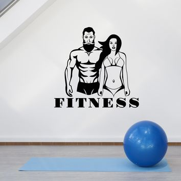Vinyl Wall Decal Fitness Couple Sports Home Gym Decoration Art Stickers Mural (ig5595)