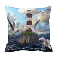 The Sea will set you free. Throw Pillow