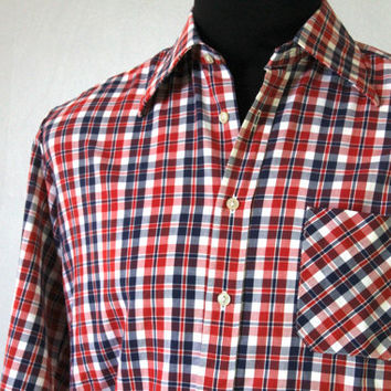 Retro Red and Blue Checkered Long Sleeve Mens Shirt