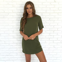 Well Polished Shift Dress In Olive