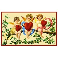 Victorian 3 Angels Cupids on a Tree Branch with Hearts Valentine from Antique Card Counted Cross Stitch Pattern