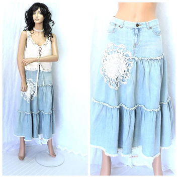 Upcycled vintage 70s POLO Ralph Lauren denim skirt size 5 / 6, 1970s denim lace prairie skirt, Lauren frayed jean skirt, SunnyBohoVintage