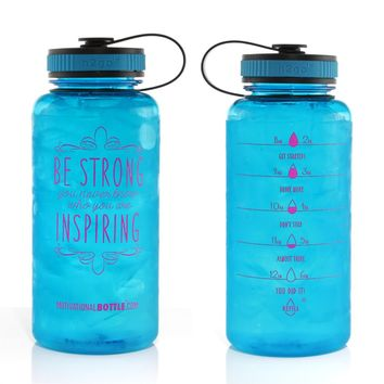34oz Motivational Bottle Fitness Workout Sports Water Bottle with Unique Timeline | Measurements | Goal Marked Times For Measuring Your Daily Water Intake, BPA Free Non-toxic Tritan