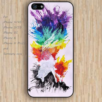 iPhone 4 5s 6 case rainbow watercolor fox design flowers colorful phone case iphone case,ipod case,samsung galaxy case available plastic rubber case waterproof B657