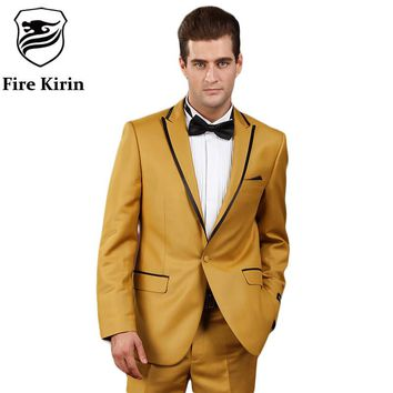 Gold Suits For Men Clothing Smoked Wedding Suits Nightclub Male Singers Prom Suit Costume Home
