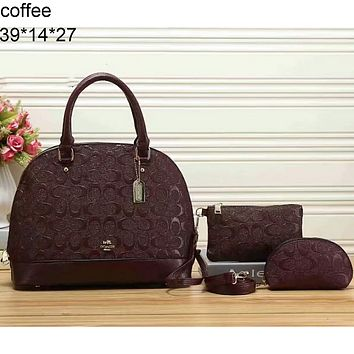 COACH three-piece street fashion women's leather handbag F-LLBPFSH coffee