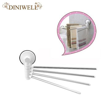 DINIWELL  Four Poles Stainless Steel Wall Mounted Rotating Towel Bar Rack Bath Holder Shelf Bathroom Wall Organizer