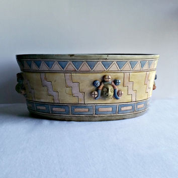 Large Serving Bowl - Mexican Pottery Bowl - Jesters - Mexican Folk Art - Renaissance Bowl - Aztec Design - Pastel Bowl - Vintage Bowl
