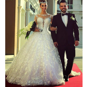 Fabulous New Long Sleeve Chapel Train 2017 Ball Gown Plus Size Wedding Dress Formal Bride Gown Vestido de noiva CGT168